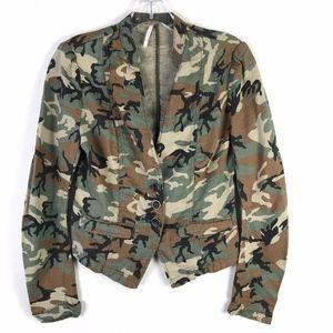 Free People Camo Blazer Jacket 2 #1813